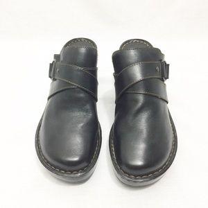 Born Women's Black Leather Slip On Clogs